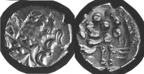 CCI-68079: An Iron Age Gold stater from HAMPSHIRE Atrebates Celtic Coin Index reference:  68.079