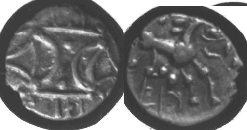 CCI-681253: An Iron Age Unit from HAMPSHIRE of Ece(n) Iceni Celtic Coin Index reference:  68.1253