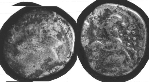 CCI-681428: An Iron Age Silver stater from HAMPSHIRE Baiocasses Celtic Coin Index reference:  68.1428