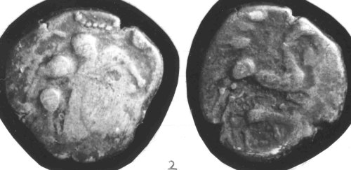 CCI-68143: An Iron Age Silver stater from HAMPSHIRE Baiocasses Celtic Coin Index reference:  68.143