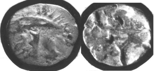 CCI-681868: An Iron Age Silver quarter stater from HAMPSHIRE Durotriges Celtic Coin Index reference:  68.1868