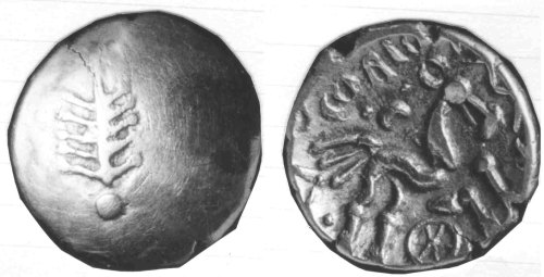 CCI-760004: An Iron Age Gold stater from HEREFORDSHIRE of Corio Dobunni Celtic Coin Index reference:  76.0004