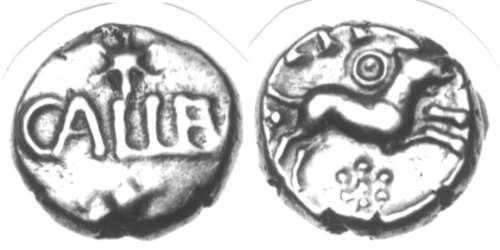 CCI-920616: An Iron Age Gold quarter stater from NULL of Eppillus Atrebates Celtic Coin Index reference:  92.0616