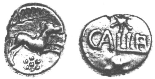 CCI-920975: An Iron Age Gold quarter stater from NULL of Eppillus Atrebates Celtic Coin Index reference:  92.0975