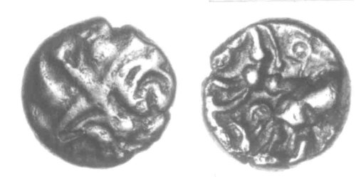 CCI-940702: An Iron Age Gold quarter stater from NULL Uninscribed Celtic Coin Index reference:  94.0702