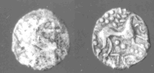 CCI-952595: An Iron Age Unit from SUFFOLK of Anted Iceni Celtic Coin Index reference:  95.2595