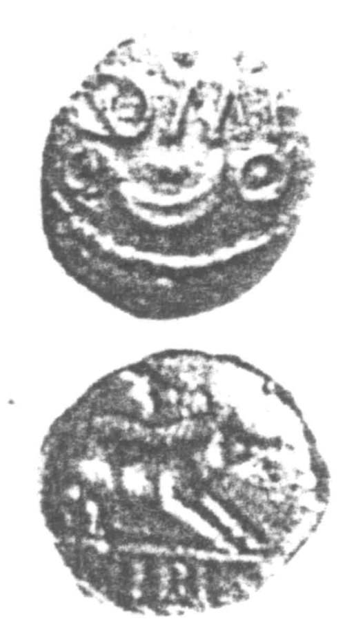 A resized image of An Iron Age Unit from SURREY of Verica Atrebates Celtic Coin Index reference:  96.0305