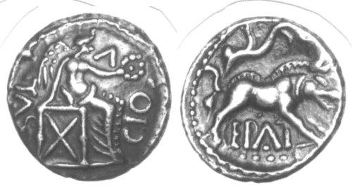 CCI-970822: An Iron Age Unit from SURREY of Epaticcus Atrebates Celtic Coin Index reference:  97.0822