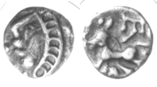 A resized image of An Iron Age Unit from SURREY Atrebates Celtic Coin Index reference:  97.1464