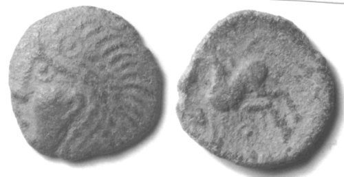 CCI-971848: An Iron Age Bronze unit from HERTFORDSHIRE Trinovantes Celtic Coin Index reference:  97.1848