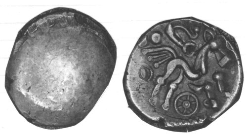 CCI-980461: An Iron Age Gold stater from BUCKINGHAMSHIRE Atrebates Celtic Coin Index reference:  98.0461