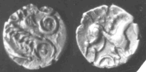 CCI-982164: An Iron Age Gold quarter stater from NORFOLK Iceni Celtic Coin Index reference:  98.2164