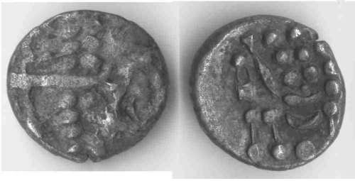 A resized image of An Iron Age Silver stater from DORSET Durotriges Celtic Coin Index reference:  99.0898