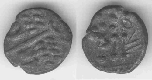 A resized image of An Iron Age Silver stater from DORSET Durotriges Celtic Coin Index reference:  99.0905