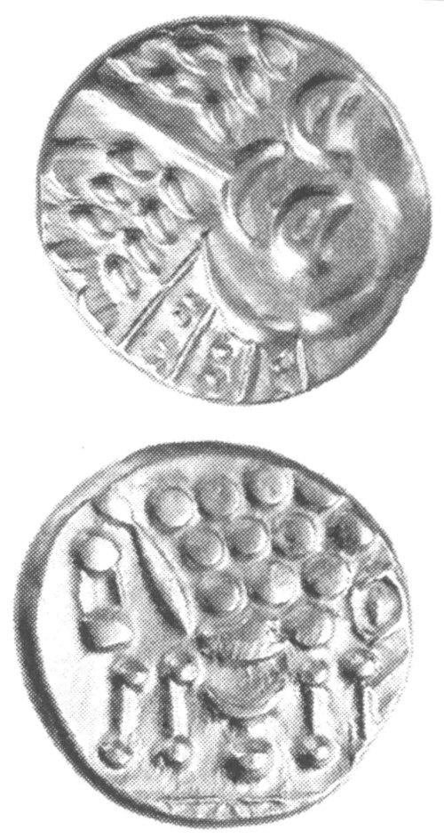 A resized image of An Iron Age Silver stater from DORSET Durotriges Celtic Coin Index reference:  99.1269