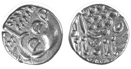 A resized image of An Iron Age Silver stater from DORSET Durotriges Celtic Coin Index reference:  99.1367
