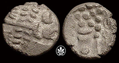 A resized image of An Iron Age Silver stater from NULL Durotriges Celtic Coin Index reference:  99.1396