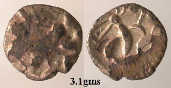 A resized image of An Iron Age Copper alloy stater from NULL Corieltavi Celtic Coin Index reference:  99.1706