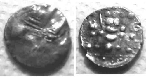 A resized image of An Iron Age Silver stater from NULL Durotriges Celtic Coin Index reference:  99.1836