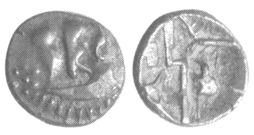 CCI-991926: An Iron Age Silver quarter stater from NULL Durotriges Celtic Coin Index reference:  99.1926