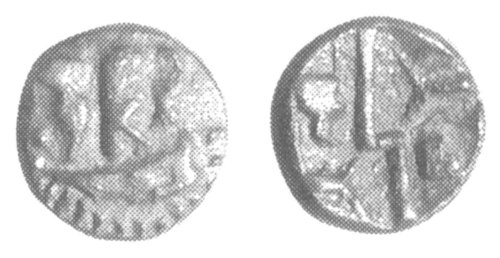 CCI-991927: An Iron Age Silver quarter stater from NULL Durotriges Celtic Coin Index reference:  99.1927