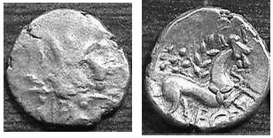 A resized image of An Iron Age Unit from NULL of Ece(n) Iceni Celtic Coin Index reference:  99.1949