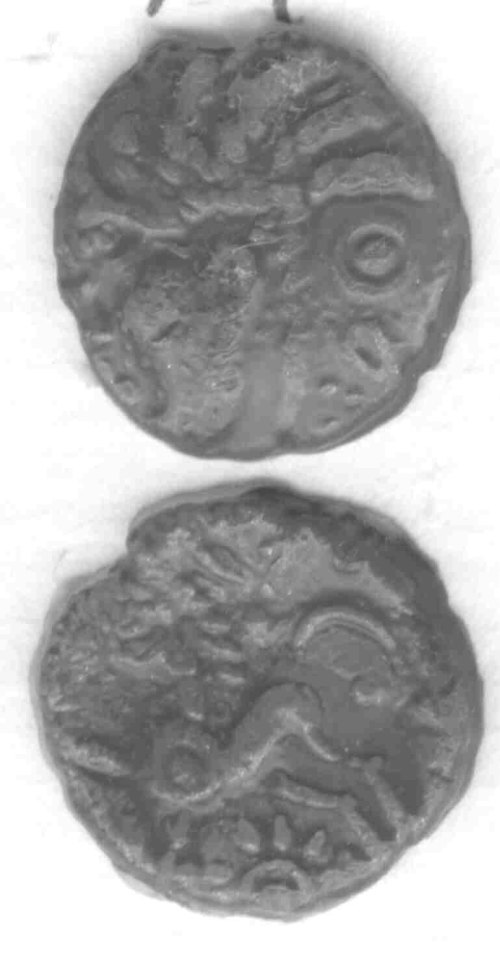 CCI-992021: An Iron Age Bronze unit from NORTHAMPTONSHIRE Trinovantes Celtic Coin Index reference:  99.2021