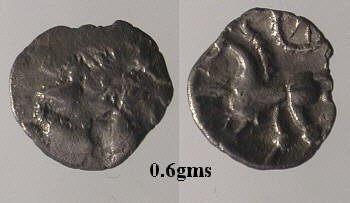 A resized image of An Iron Age Half unit from NULL Corieltavi Celtic Coin Index reference:  99.1703