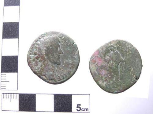 A resized image of Copper alloy sesterius of Marcus Aurelius as Caesar, AD 145-160