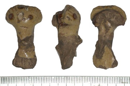 WMID-003764: Medieval - Post Medieval ceramic vessel fragment (front, side and back views)