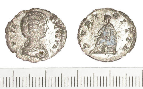 WMID-9B32B5: Roman coin: denarius of Julia Domna (obverse and reverse).