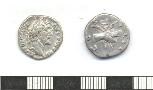 A resized image of Silver Roman denarius of Antoninus Pius