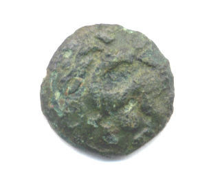 ESS-EBAA55: Uninscribed Iron Age coin unit North of the Thames 30-50BC, obverse
