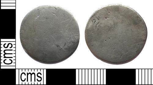 LANCUM-1D5628: Silver sixpence of William III, very worn
