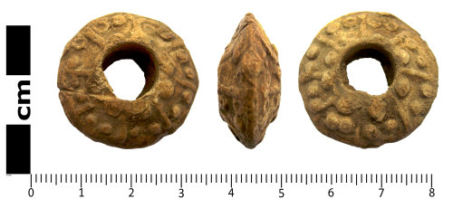 LANCUM-23BD99: Medieval lead alloy weight, probably a spindle whorl
