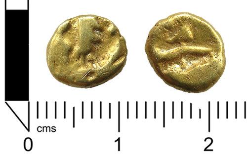 LANCUM-3A9A22: Iron Age coin: Gallo-Belgic 'boat tree' type