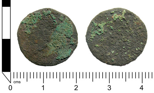 A resized image of Roman coin: Extremely worn as or dupondius, possibly 2nd century