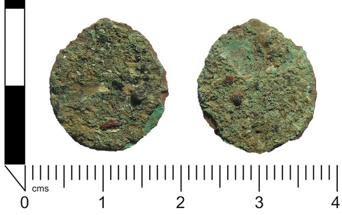 A resized image of Roman coin: Extremely worn radiate or nummus