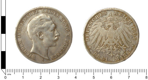 LANCUM-F6CE3D: Modern coin: three German silver 'mark' of William (Wilhelm) II
