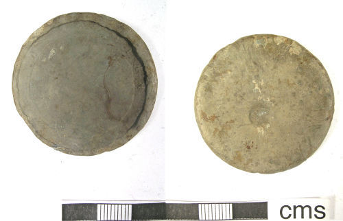 LANCUM-E4B787: Post-Medieval Weight with cart-wheel penny impression (obverse, reverse)