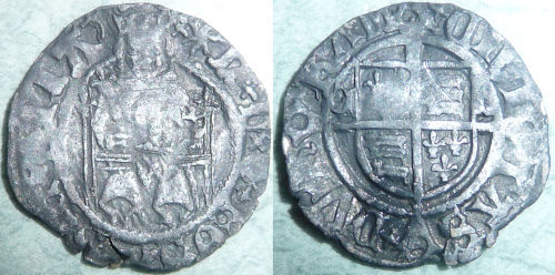 LANCUM-75A4B0: Silver hammered penny of Henry VIII, North 1813
