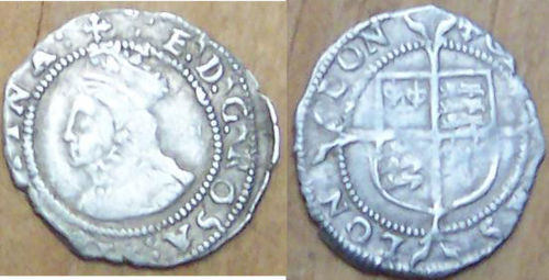 LANCUM-75C5C8: Silver hammered penny of Elizabeth I dating from c. AD1560-61
