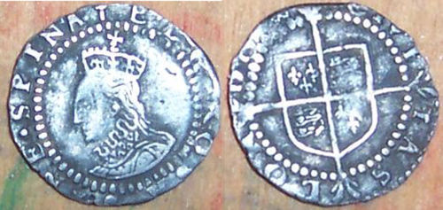 LANCUM-762185: Silver hammered penny of Elizabeth I dating from c. AD1580-81