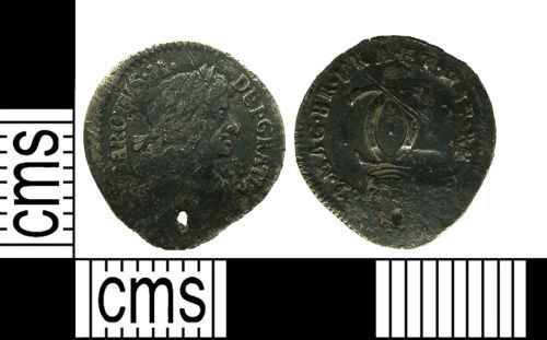 PUBLIC-14B0E5: Post-medieval silver two pence of Charles II dating from AD1682.