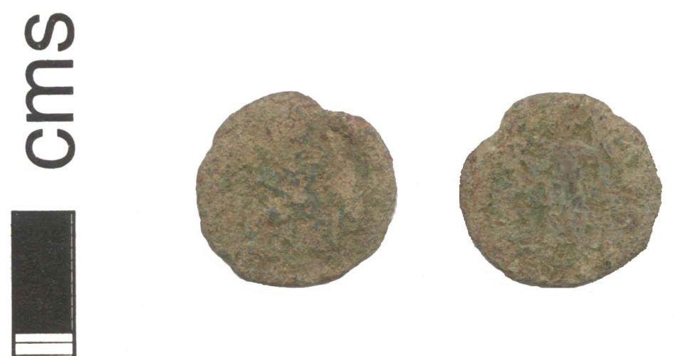 NARC-4D4D44: A copper alloy nummus of uncertain emperor, dates to 296 - 410 A.D.