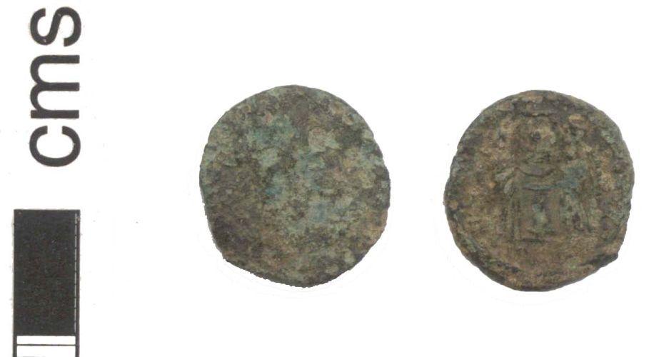 NARC-4E9C20: A Roman copper alloy nummus of constantine I, dates to 318 - 324 A.D.