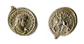 A resized image of A silver denarius of Carausius