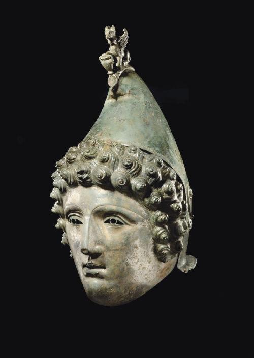 A resized image of Restored Roman helmet - copyright Christies