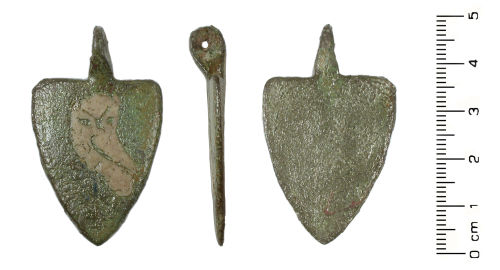 WMID-E2F5A2: Medieval harness pendant (front, profile, reverse)