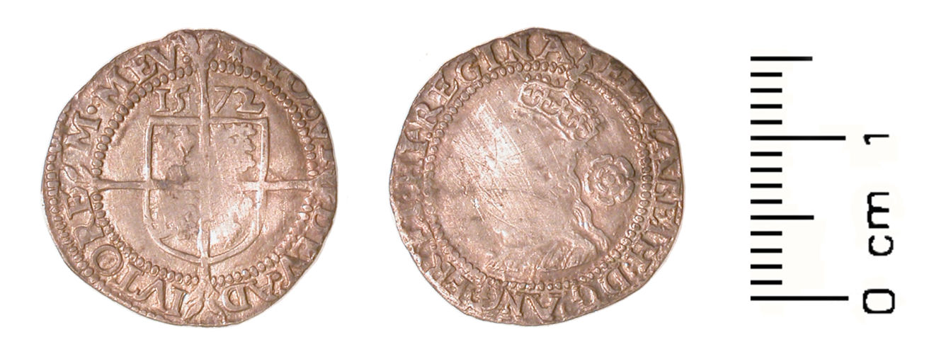 WMID-5CBEB2: Post medieval coin: Threepence of Elizabeth I (obverse, reverse)